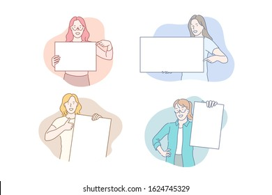 Girls holding empty posters concept. Young smiling women showing white blank pieces of paper, advertisement banners, promotion templates, placard with text place. Simple flat vector