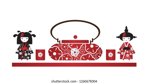 Girls Japanese girls and a kettle with cups, dolls Kokeshi in cartoon style. Set in Asian style for postcard, brochure, poster, booklet, leaflet. Vector illustration