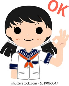 Girl's Japanese student Sailor suit and pigtails set OK.This is a vector illustration.