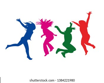 girls jumping bodies, silhouette vector