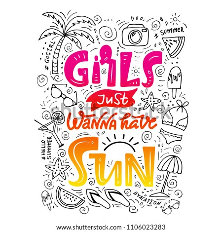 a75460748 Tropic beach lettering. Summer time brush calligraphy. Typography for girls  on the beach. Sun and flip flops. For t-shirts