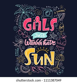 Girls just want have sun. Summer graphic lettering quote for t-shirt, bag, textile, fabric, postcard, social media content. Creative calligraphy phrase with sunglasses, palm, sun.Dark black background