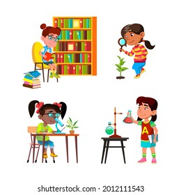 Girls Kids Scientist Study And Research Set Vector. Children Ladies Scientist Studying In Library, Researching Plant Outdoor And Chemical Liquid In Laboratory. Characters Flat Cartoon Illustrations