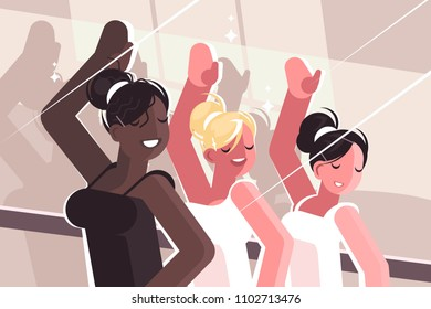 Girls learn in dance class. Rehearsal to perform on stage. Vector illustration