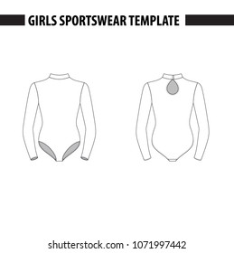 Girls leotard with mock neck and long sleeves. Vector template, mockup for sample demonstration. Kids leotard, sport suit for gymnastics, acrobatics, dance. Vector illustration in outlines.