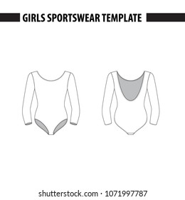 Girls leotard with three quarters sleeves (3/4). Vector template, mockup for sample demonstration. Kids leotard, sport suit for gymnastics, acrobatics, dance. Vector illustration in outlines.