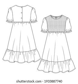 Girls' Long Peasant Dress, flat sketch fashion template. Technical Fashion Illustration. Empire Waist Dress. Puff Sleeves. Seersucker Detail at front