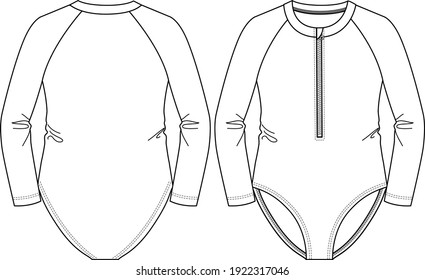 Girls Long Sleeves one-piece Rash-guard swimsuit fashion flat sketch template. Zipper Up. Swimwear Technical Fashion Illustration