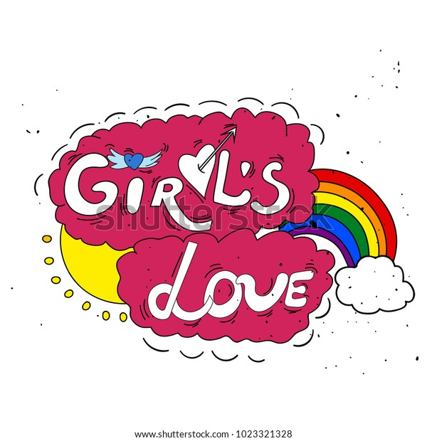 Girls Love Cute Hand Drawn Lettering Stock Vector Royalty