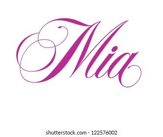 Girl's Name Elegant Vector Lettering Series: Mia