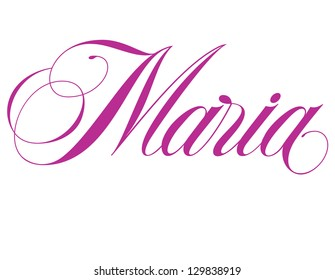 Girl's Names Elegant Vector Lettering Series: Maria