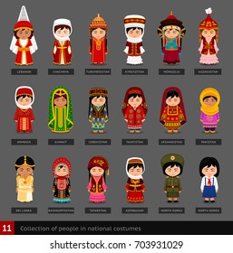 Girls in national costumes. Set of asian women dressed in national clothes. Collection of cute cartoon characters. People. Vector flat illustration.