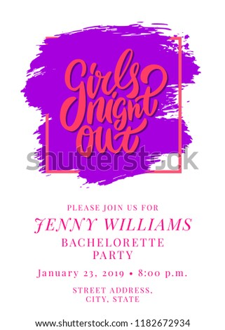Girls Night Out Bachelorette Party Invitation Stock Vector Royalty