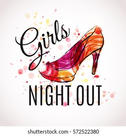Girls night out Party design. Vector illustration for poster, flyer or banner