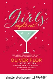 Girls Night Out Party Invitation with Cocktail Glass