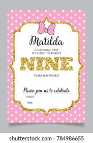 Girls Ninth Birthday Invitation Nine Years Old Party Printable Vector Template With Pink Background