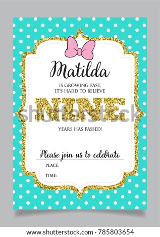 Girls Ninth Birthday Invitation Nine Years Old Party Printable Vector Template With Tiffany Color