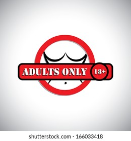 girl's nude body with label as adult's only, 18+ - concept vector. This graphic can represent pornographic content, sexually explicit material, nude or naked people, etc