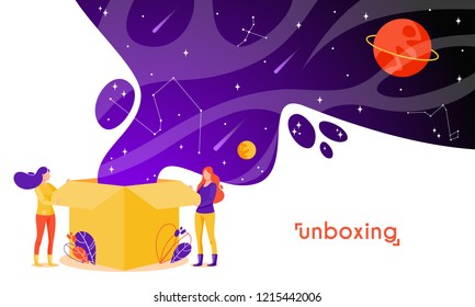 Girls open box in flat style. Cartoon characters vector illustration. Concept of unboxing of parcel.