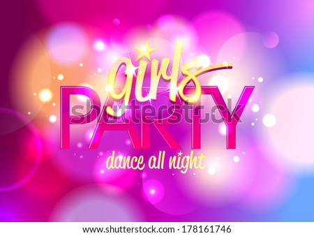 girls party invitation banner on bokeh stock vector royalty free