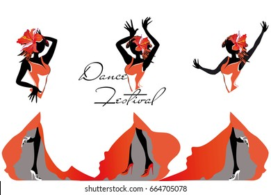 Girls in passionate Latin American dances. Salsa festival. Hand drawn poster background.
