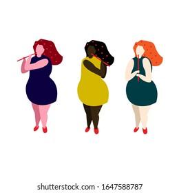 Girls play flutes. Flat vector illustration.