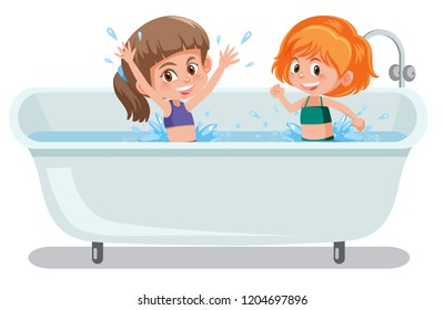 Girls playing in bathtub illustration