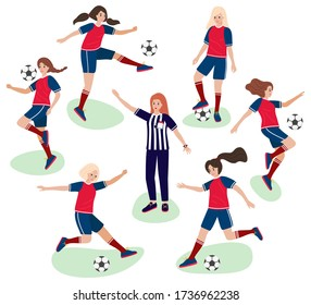 Girls playing in football and woman referee in judge uniform - flat cartoon stile. Vector stock illustration - group of young female soccer player make sports movement in a game of shots, tricks
