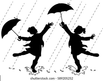 Girls Playing in Rain - Silhouette - Vector Illustration