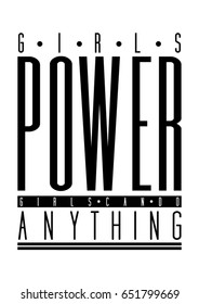 Girls power, girls can do anything quote print in vector.