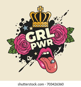 Girls power concept. Vector illustration of feminist slogan with colorful girlish stickers and symbols, such as roses, lips and crown. Isolated on background.