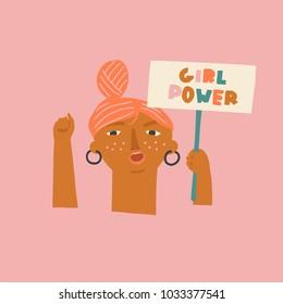 Girls power, empowered women, feminism ideas illustration. International womens day concept graphic.