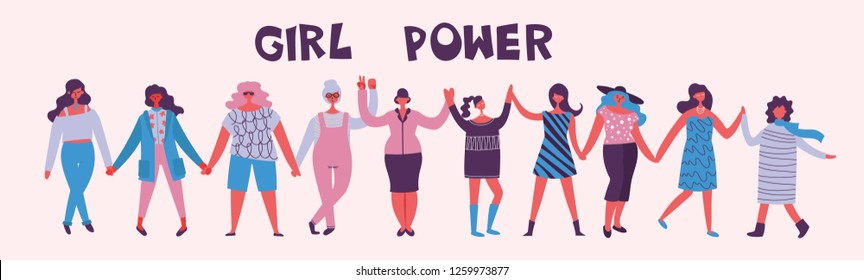 Girl's Power. Feminine concept and woman empowerment design for banners. Group of young fashion women activists standing together and holding hands