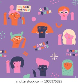 Girls power, feminine and feminism, woman empowerment ideas seamless pattern. International womens day concept graphic.