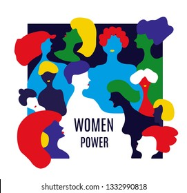 Girl's power illustration with many women. Vector graphic illustration