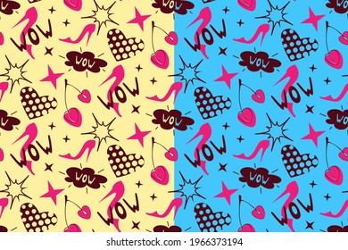 Girls power seamless pattern. Feminine lifestyle fashion concept, hand drawn elements, high heel pink shoes, cherry, wow speech bubble, heart, stars. Yellow, blue editable background, vector