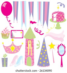 Girl's Princess Birthday Party with place card/invitation, cake, present and party supplies
