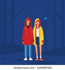 Girls in raincoats vector illustration. Inspired be Netflix Stranger Things series. Two flat female characters - Eleven and Max.