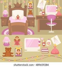 Girls Room Bedroom Set Furniture Girls Stock Vector Royalty Free 489659284