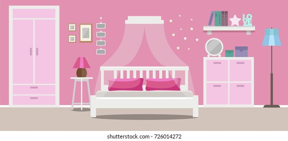 Girl's room interior, teenager room, pink colors, flat style vector illustration template