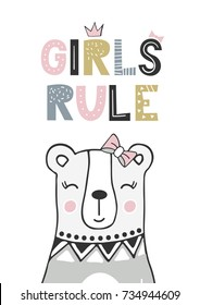 Girls rule - unique hand drawn nursery poster with handdrawn lettering in scandinavian style. Vector illustration.