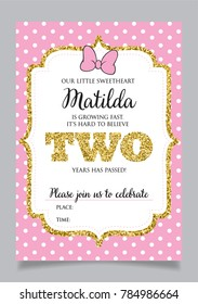 Girls Second Birthday Invitation Two Years Old Party Printable Vector Template With Pink Background