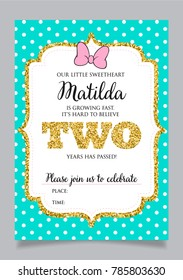 Girls Second Birthday Invitation Two Years Old Party Printable Vector Template With Tiffany Color