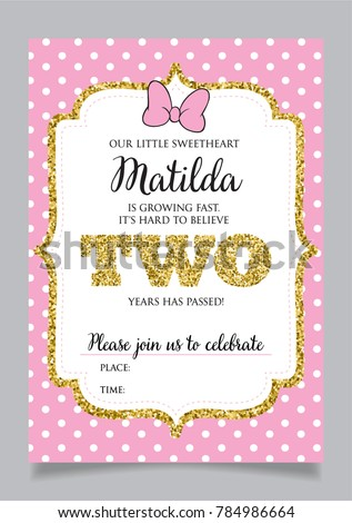 Girls Second Birthday Invitation Two Years Stock Vector Royalty