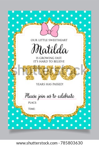 Girls second birthday invitation two years stock vector royalty girls second birthday invitation two years old party printable vector template with tiffany color filmwisefo