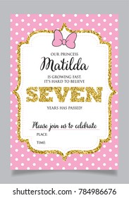 Girls Seventh Birthday Invitation Seven Years Old Party Printable Vector Template With Pink Background