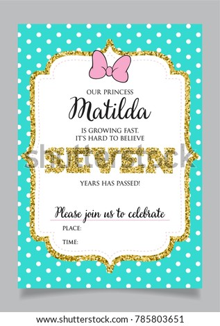 Girls Seventh Birthday Invitation Seven Years Old Party Printable Vector Template With Tiffany Color