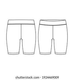 Girls Short Legging fashion flat sketch template. Women Active wear Biker Short Technical Fashion Illustration