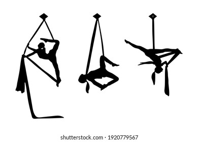 The girls silhouette is engaged in aerial acrobatics. Set of stock vector illustrations for your business, scrapbook, magazine.