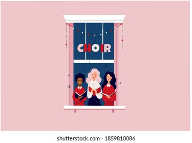 Girls singing in a little choir. Stay at home or lockdown concept. People in window frame singing Christmas carols. Flat vector illustration.